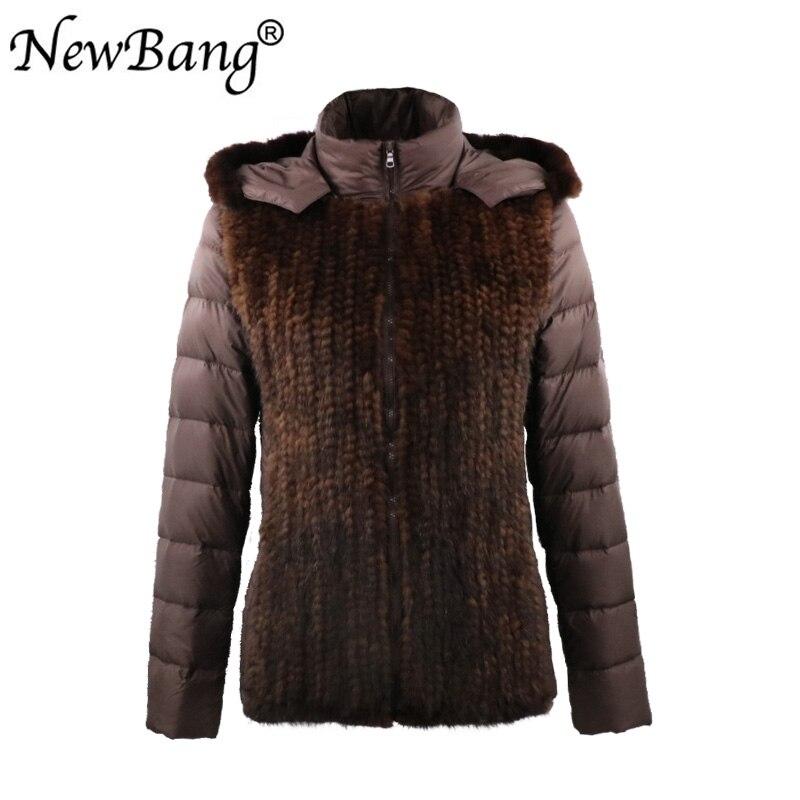 NewBang ออกแบบแบรนด์ Real Mink Fur Patchwork 90% Duck Down Filling ผู้หญิงฤดูหนาวลงเสื้อแจ็คเก็ตสั้น-ใน เสื้อโค้ทดาวน์ จาก เสื้อผ้าสตรี บน   1
