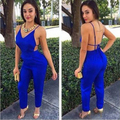 Hot Blue Sexy Strapless Jumpsuit Fashion Backless Sexy Long Pants Jumpsuits Ladies Deep V-Neck Party Jumpsuits Rompers