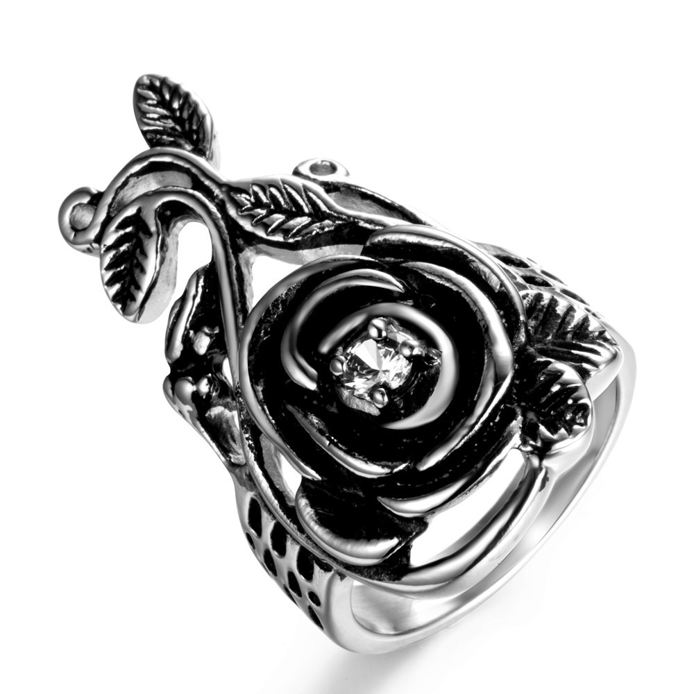 ZMZY Newest Gothic Vintage Crystal Rhinestones Stainless Steel Big Rose Flower Band Rings for Women Ladies Party Jewelry