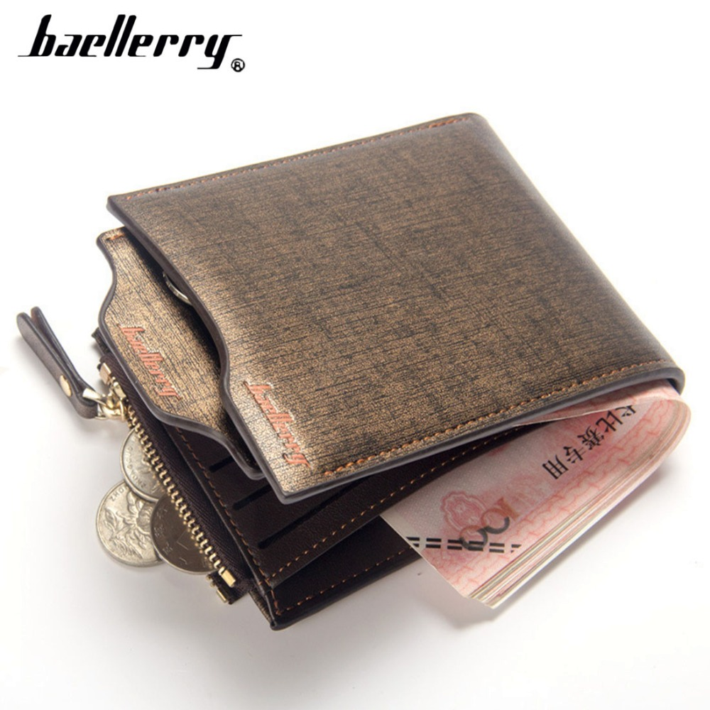 Baellerry Men Wallets Gold PU Leather Zipper Causal Solid Men Purse Coin Pocket Card Holder High Quality Male Purse cartera