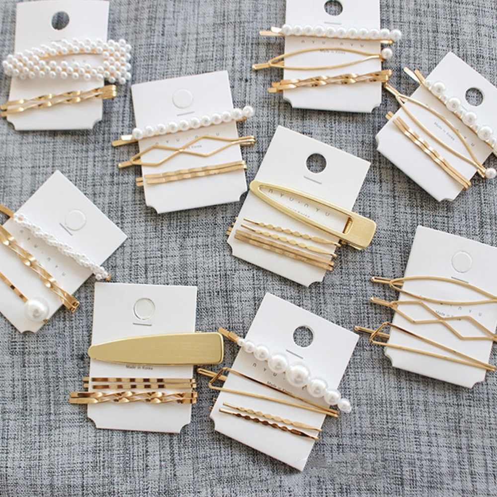 M MISM 1Set ins Women Girl Korean Fashion Imitiation Pearls Geometric Gold Vintage Hair Clips Hairpin Barrettes Hair Accessories