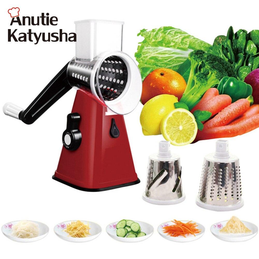 Multi-functional 3 Stainless Steel Blades Mandoline Slicer Vegetable Cutter Chopper Potato Carrot Grater Slicer Kitchen Tools