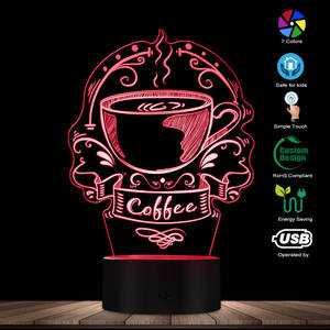 Image 2 - Angepasst Kaffee Logo Dekorative Beleuchtung Kunst Bunte Kaffee Haus Business Zeichen Koffein Cafe Logo 3D Led Nachtlicht Geschenk