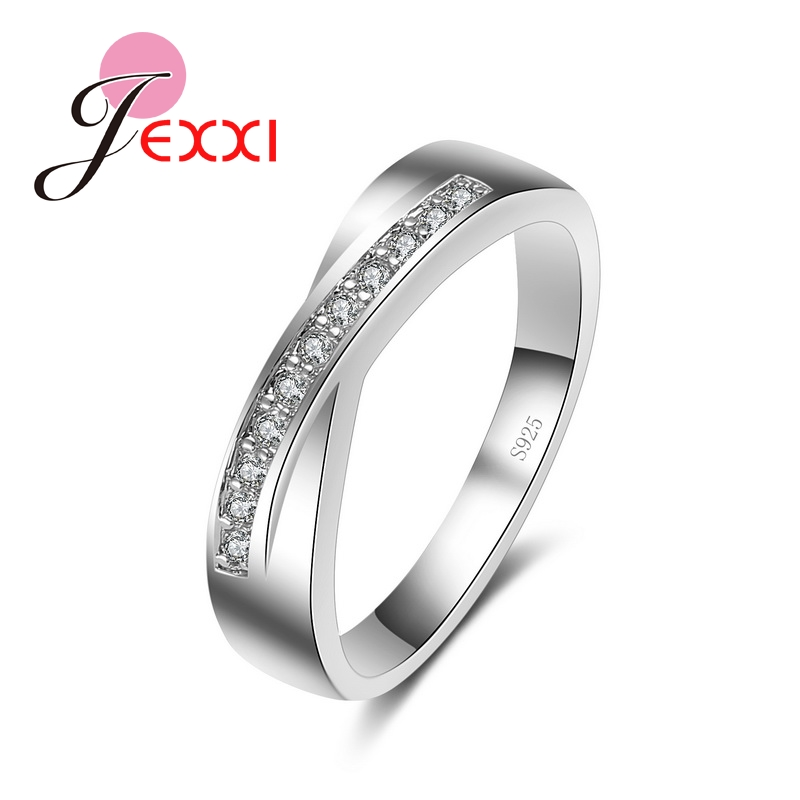 JEXXI Bridal Trendy Cross Ring White Cubic Zirconia Finger Jewelry for Women 925 Sterling Silver Engagement Wedding Rings Bijoux