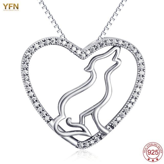 YFN 925 Sterling Silver Animais Colar de Jóias Amor Colar de Pingente de Lobo Para Meninas os Melhores Presentes colar gargantilha collier femme