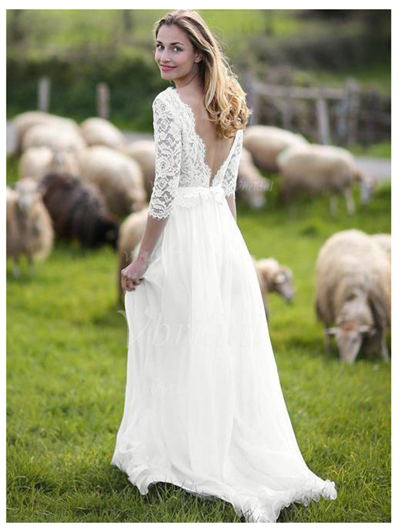 LORIE Three Quarter Sleeves Wedding Dress 2019 Backless Appliques Lace Elegant A Line Tulle Vintage Bride