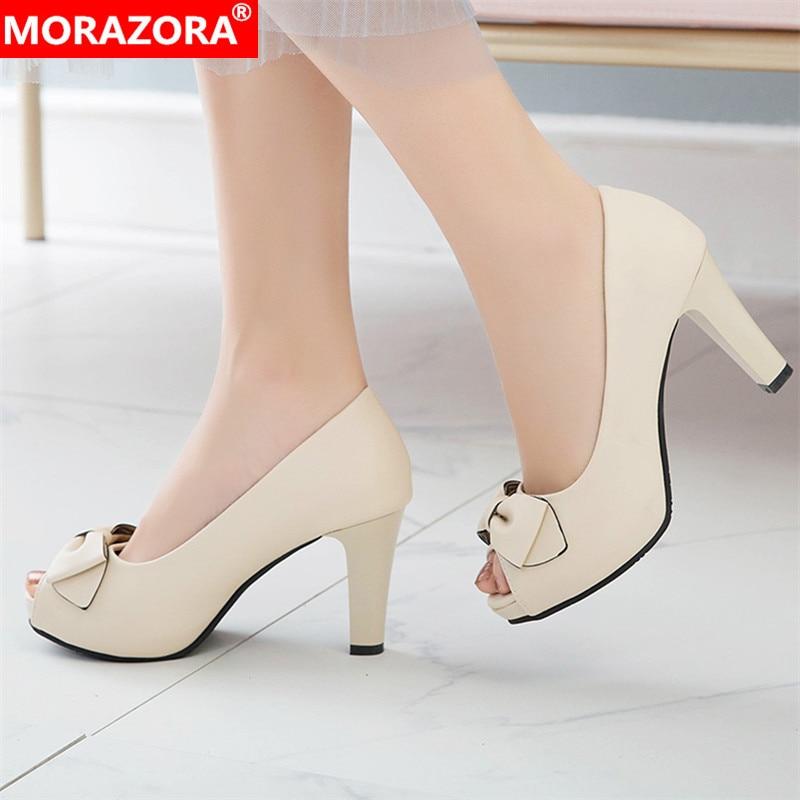 MORAZORA 2019 New Arrival Pumps Women Shoes Sweet Peep Toe Spring Summer Platform Shoes Slip On High Heels Prom Shoes Woman