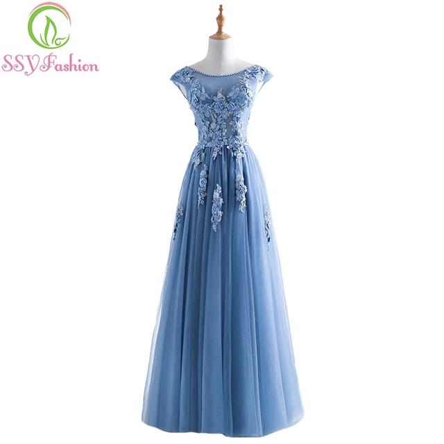13facda629b3 SSYFashion Nuovo Il Banchetto Elegante Abito Da Sera Grigio Blu Lace fiore  con Bordare Lungo di