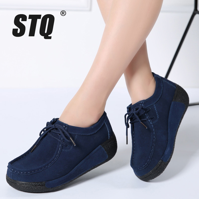 STQ 2020 Spring Women Flats Platform Sneakers Shoes Women Casual Shoes Leather Suede Moccasins Shoes Women Lace Up Creepers 3582