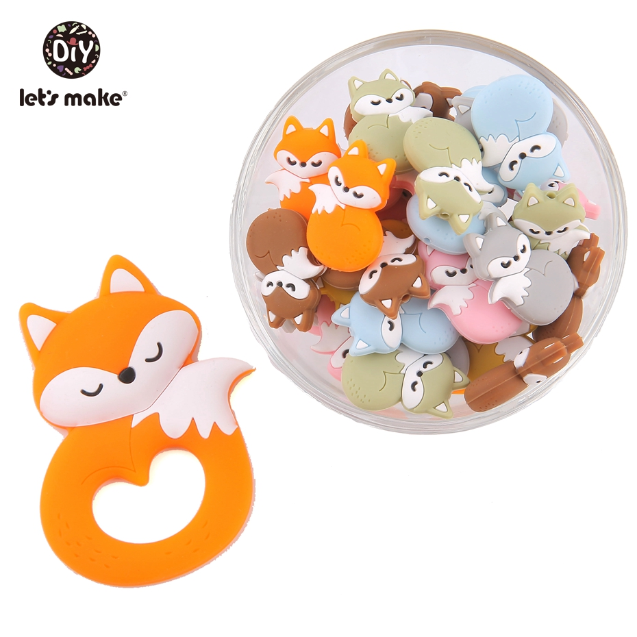 Let'S Make Silicone Teether Fox 10Pc Baby Tiny Rod Silicone Nursing Necklace Diy Beads Pacifier Chain Baby Teether Toys