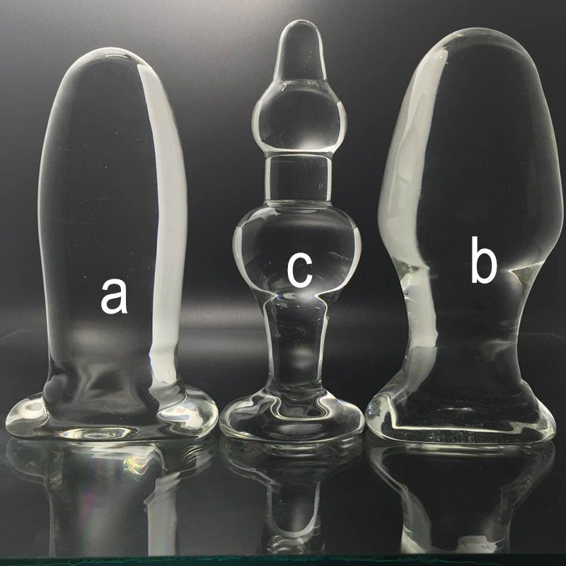 Odd-shaped 3 pcs/set large glass butt plug big anal balls beads plugs vagina anus dilator stimulator buttplug sex toys for woman 55mm transparent glass anal plug dildo anus dilator expander butt plugs large big buttplug ass sex toys for woman