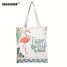 Luxury Handbags Women Bags Designer HandbagsCute Flamingo Printed Canvas Casual Tote Bags Shoulder Bags Female Bolsa Feminina