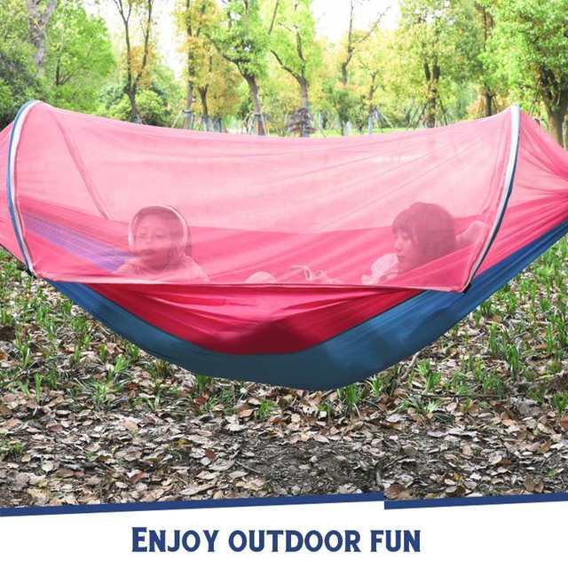 2 Person Portable Outdoor Mosquito Net 260x150cm Parachute Hammock Camping Hanging Sleeping Bed Swing Double Chair Hanging Bed 3