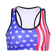 NEW 0011 Summer Sexy Girl Women USA Flag The Old Glory 3D Prints Padded Push Up Gym Vest Top Chest Running Sport Yoga Bras