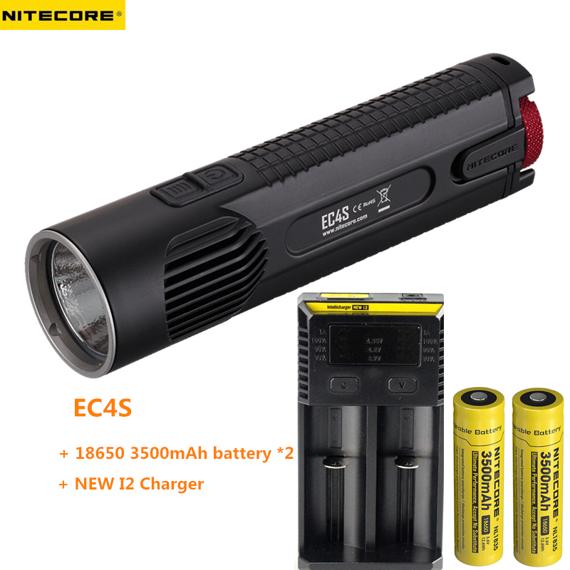 NITECORE EC4S CREE MT-G2 LED Flashlight 2000LM beam throw 238M torch + 2pcs 18650 3500mAh battery + NEW I2 charger new arrival nitecore ec4sw neutral white beam cree mt g2 led 2000 lumens 18650 handheld searchlight flashlight