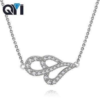 ceeba1f2991e QYI dama clásica colgante collares de plata 925 de compromiso de boda de la  joyería para las mujeres collar de cadena larga de apoyo 18 K  personalización