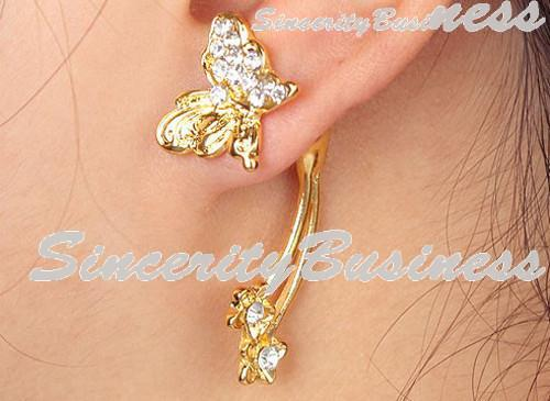 plated goldearrings, butterfly earring stud with rhinestone fashion jewelery