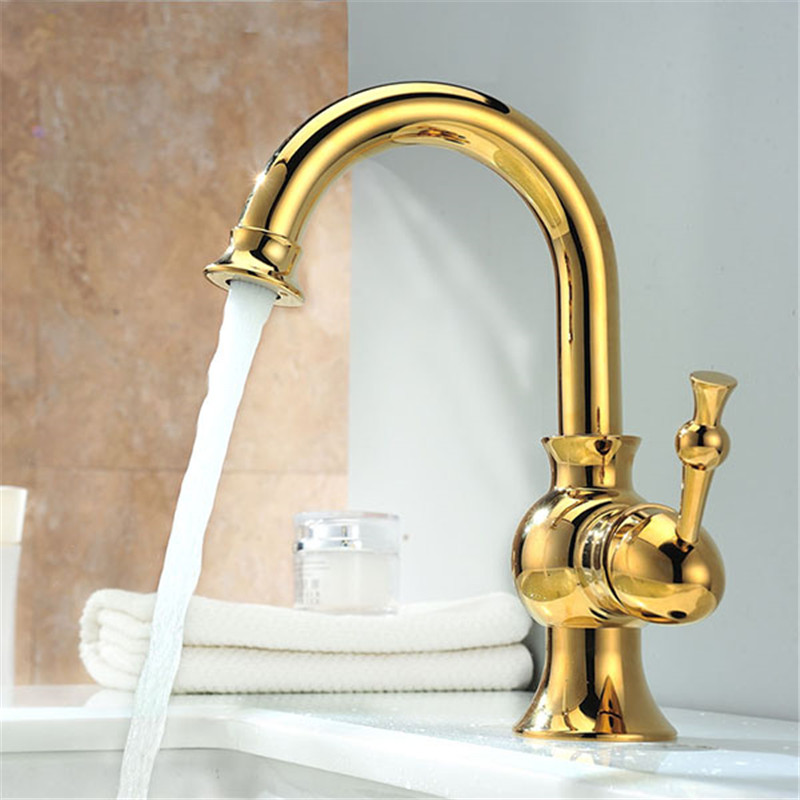 Deck Mount One Handle Basin Sink Faucet Golden Brass Bathroom Vanity Sink Mixer Taps antique brass and golden bathroom washing basin faucet single handle brass short vanity sink mixer taps
