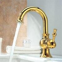 Deck Mount One Handle Basin Sink Faucet Golden Brass Bathroom Vanity Sink Mixer Taps