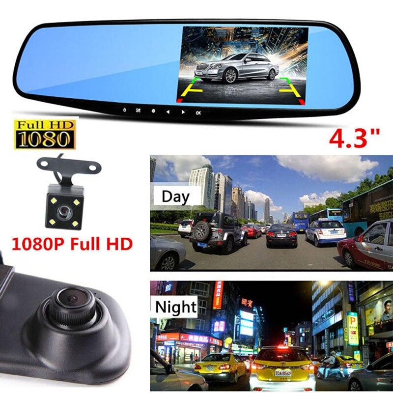 цена на 4.3'' 1080P Dual Lens Car DVR Mirror Dash Cam Recorder With Rear View Camera Kit