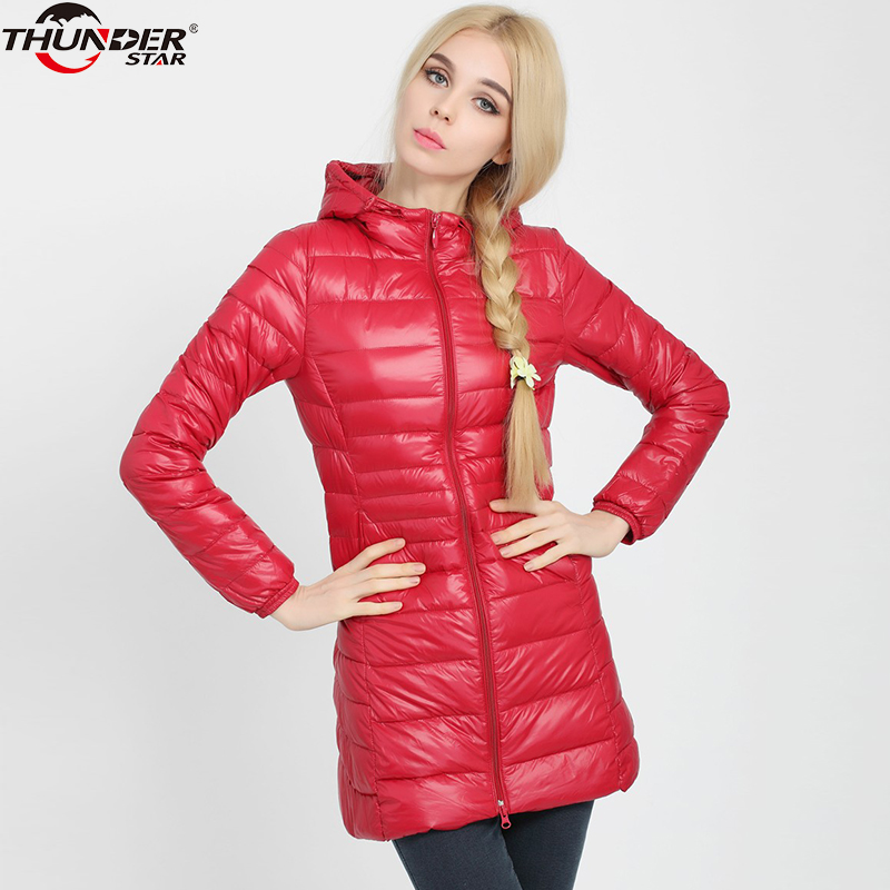 Women   Down   Jackets Hooded 2018 Winter Slim Puffer Jacket Portable Windproof White Duck   Down     Coat   Plus Size 4XL Female Clothes