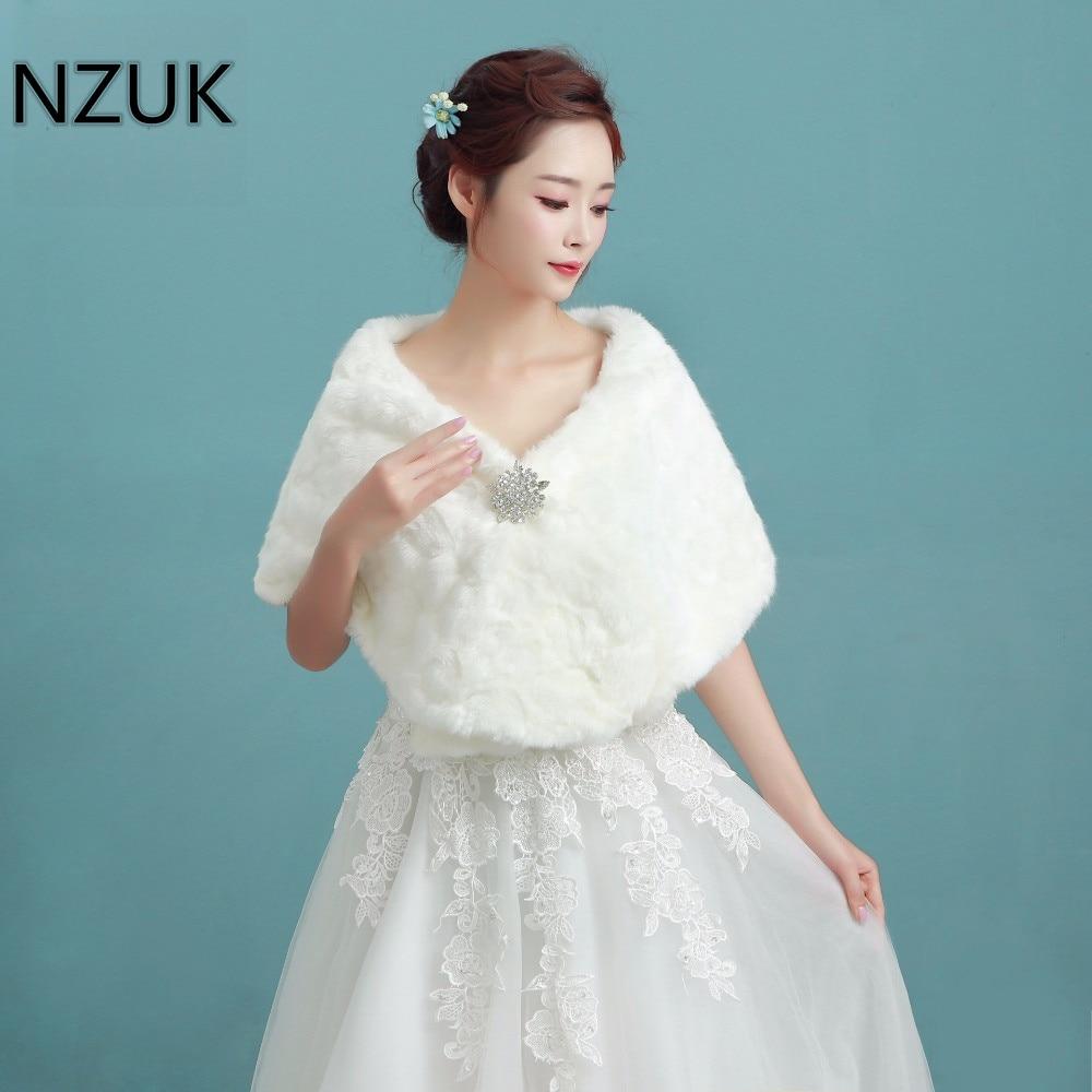 NZUK 2018 Winter Bridal Fur Wraps Wedding Bolero Jacket Cheap Bridal Shawl Capes Plus Size Bolero Faux Fur Shawls Wedding Jakect-in Wedding Jackets / ...