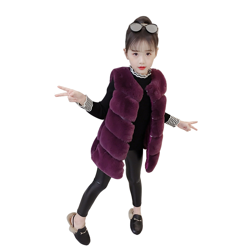 cute thick warm girls artificial fur long-vest age for 3- 10 yrs baby waistcoat girl kids sleeveless coats fashion children vest kids girls artificial fur vest coats winter warm waistcoat sleeveless jacket children s artificial fur vest girl jacket children
