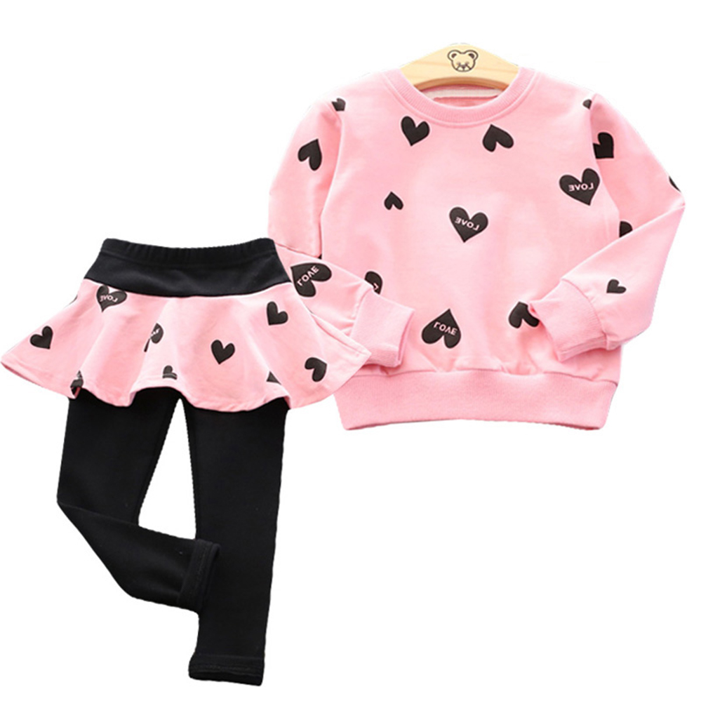 Baby Girls Clothing Sets 2018 Autumn Winter Clothes T-shirt+Pant 2pcs Outfit Kids Clothes Girls Suit Children for 3 4 5 6 7 Year 2017 new spring child girls clothing sets bowknot autumn tops t shirt leggings pants baby kids clothes 2pcs suit 3 6years