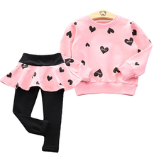 Baby Girls Clothing Sets 2018 Autumn Winter Clothes T-shirt+Pant 2pcs Outfit Kids Suit Children for 3 4 5 6 7 Year