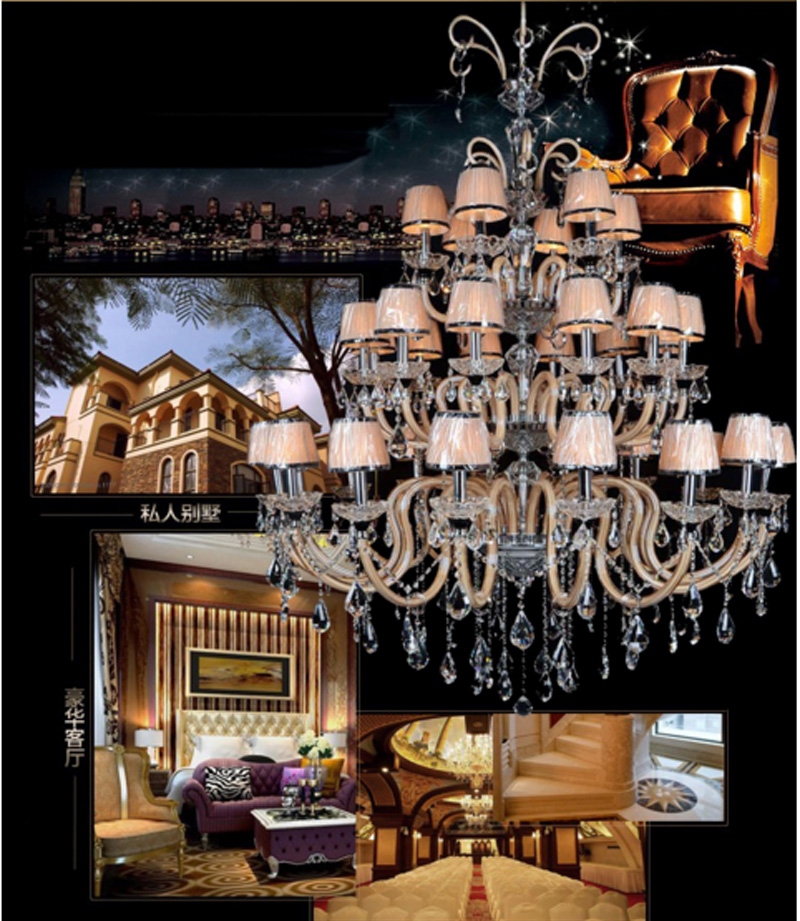 Candle crystal chandeliers double floor living room lamps modern creative Villa Hotel lobby Chandelier large crystal chandelier