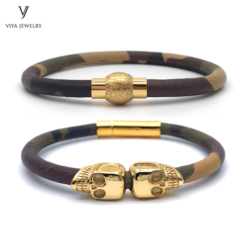 Fashion Camouflage Leather Magnet & Skulls Men Bracelet Real Cow Hide CAMO Leather Bracelet High Quality Double Skulls Bracelets