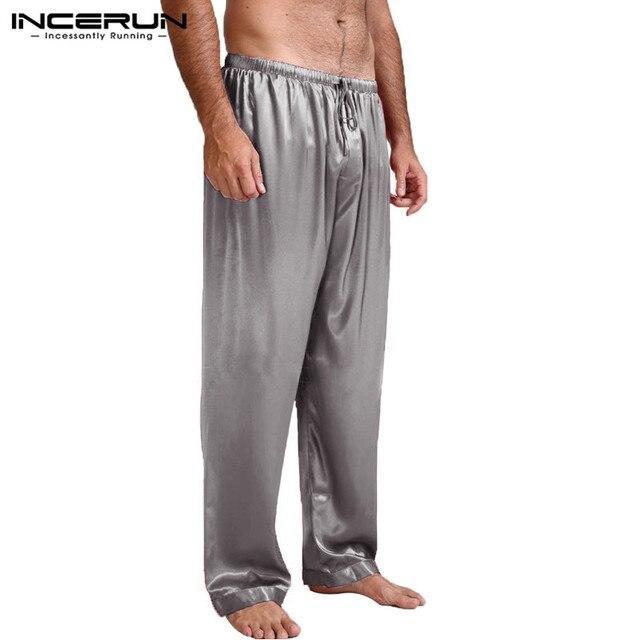 Домашняя одежда мужские пижамы брюки гостиная сна плавки шелковый атлас брюки свободные утеплитель большой Размеры 3XL осень INCERUN мужской Костюмы