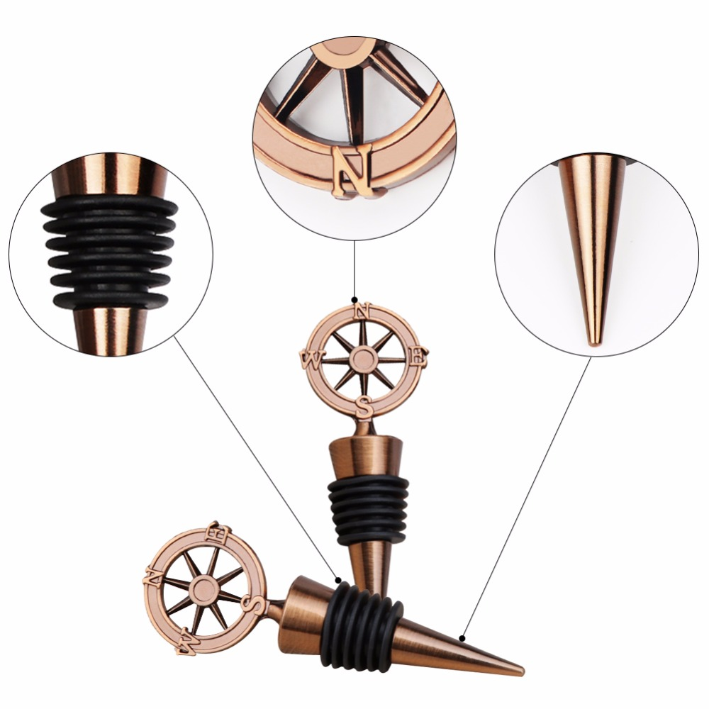 ourwarm Wedding Favors and Gifts for Guests Stainless Steel Wine Bottle Stoppers Travel Theme Party Favors