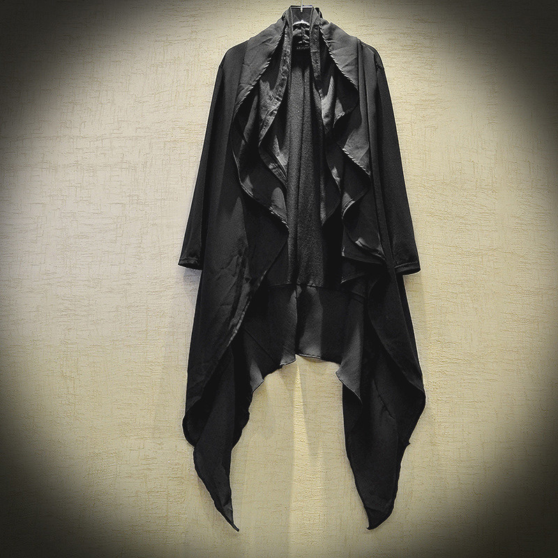 Men Summer Gothic Style Hip Hop Trench Coat Hooded Cloak Men's Irregular Design Long Cardigan Street Punk Vintage Jackets
