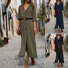 Women Casual Long Sleeve Button Down Loose Long Maxi Party Shirt Dress Plus Size long sleeve button down mini shift dress