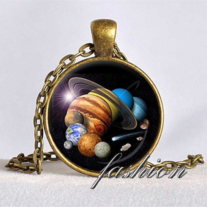 Chain Necklaces Solar System Pendant Astronomy Pendant Space Jewelry Galaxy Necklace Planet Jewelry Multicolor Geek Gift For Astronomer