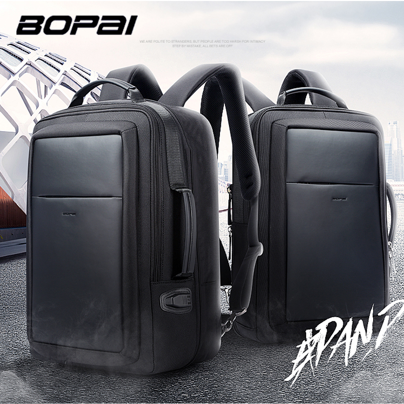 BOPAI Laptop Backpack Enlarge Anti theft Backpack USB External Charging 15.6 Inch Men Waterproof School Backpack bag Top Quality kingsons external charging usb function school backpack anti theft boy s girl s dayback women travel bag 15 6 inch 2017 new