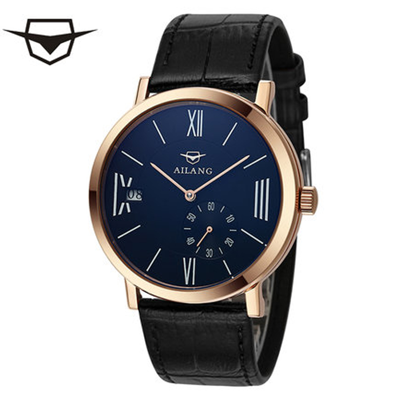 AILANG men s mechanical seagull watch cool fashion simple independent small  seconds dial waterproof watch belt table a0298aecb08f0