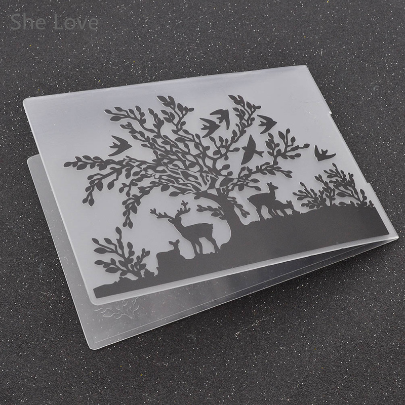 plastic embossing folder for scrapbooking diy photo album card swallow deer template in stamps. Black Bedroom Furniture Sets. Home Design Ideas