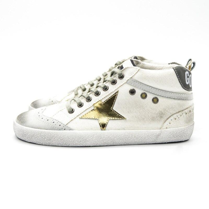 Italy Original Deluxe Brand Men Canvas Women Golden Shoes Do Old Board Fashion Casual Goose Shoe High Mid White Uomo Scarpe 2017 hogan scarpe uomo