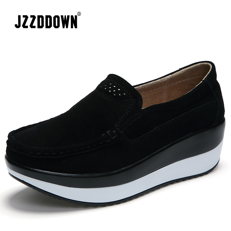 JZZDDOWN Large Size Women shoes genuine   leather   Cow   Suede   Heel High 4cm shoes woman platform Creeper women sneakers platform