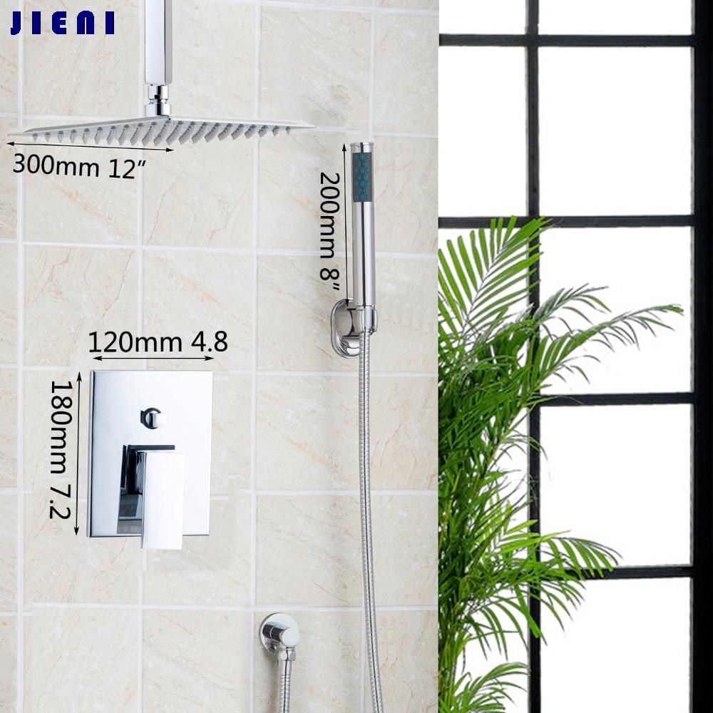 12 Wall Mounted Rain Shower Set Luxury Square Shower Head Shower Set with Handlde Shower Chrome
