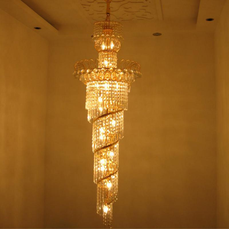 Lights & Lighting Chandeliers Radient Duplex Loft Spiral Crystal Chandeliers For Stairwell Clear Lustre Hotel Modern Saircase Chandelier Led E14 Suspension Stair Lamp Beautiful In Colour