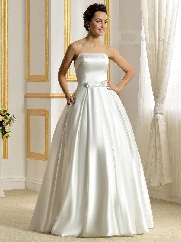 Strapless Matte Satin Ball Gown Bowknot Pockets Simple Wedding Dress ...