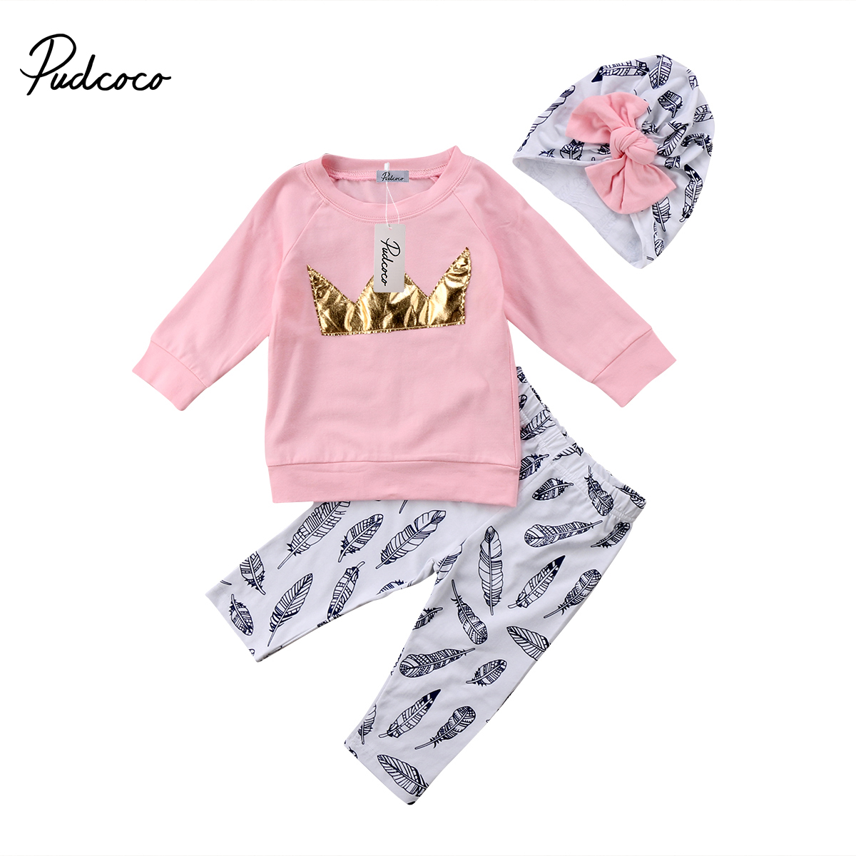 2018 Brand New Adorable Toddler Infant Child Kid Baby Girl Pink Crown Top T-shirt Pants Hat 3Pcs Set Clothes Long Sleeve Outfits