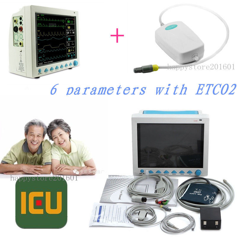 CONTEC CMS8000 Capnograph CO2 Patient Monitor ETCO2 Vital Signs 6 Parameters,FDA/CE ce vet veterinary icu patient monitor 6 parameters contec cms6000 etco2 printer