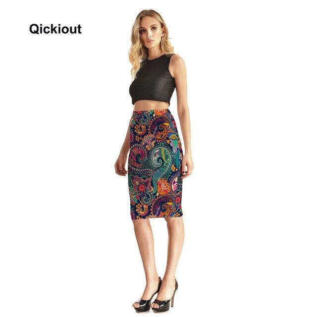 Qickitout Skirts Fitness New 2017 Fashion Women's Sexy Aztec Round Ombre Skirts High Waist Package Hip Skirt Saia Midi Plus Size 2