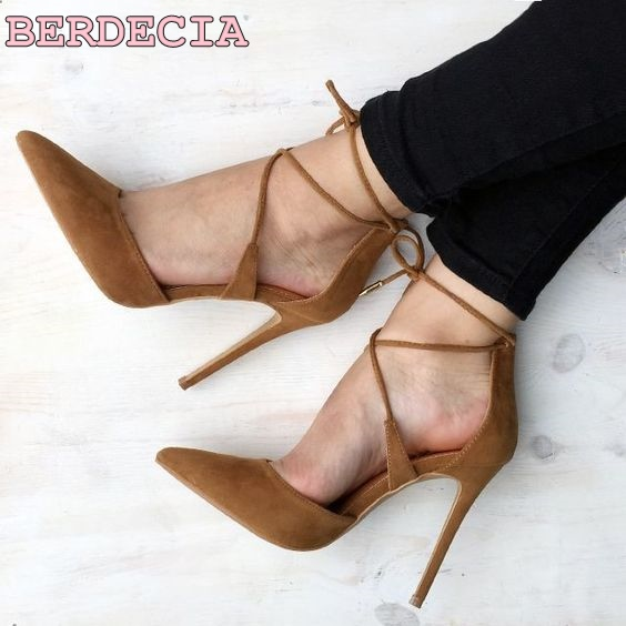 Brown suede leather pointed toe high heel pumps ankle strap sexy wowan shoes stiletto heel high quality pumps summer new fashion brown suede leather pointed toe high