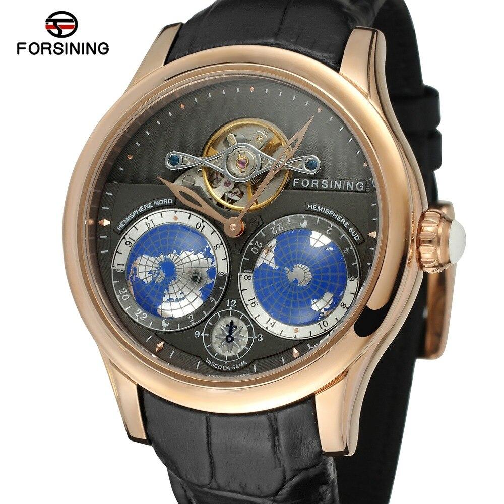 FORSINING hombres de marca de lujo movimiento automático caja de acero inoxidable Mapa Mundial Dial reloj de pulsera reloj de diseño de moda FSG9413M3-in Relojes mecánicos from Relojes de pulsera    1