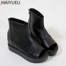 Women's Ankle Platform Boots Summer Open Toe Gladiator Boots Ladies Casual Thick Bottom Shoes Punk Wedges Shoes For Women недорого